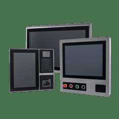 Gruppe von Panel PCs bestehend aus Industrie Panel PC, Edelstahl Panel PC und Einbau Panel-PC mit Touchscreen