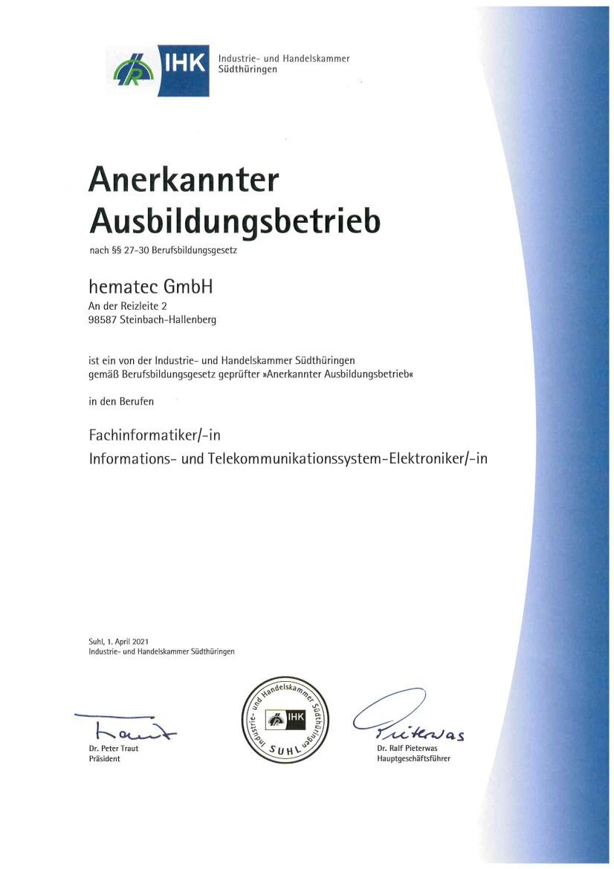 hematec anerkannter Ausbildungsbetrieb